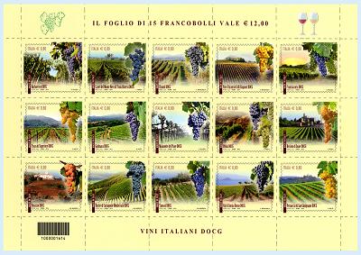 Poste celebrano vino con emissione 15 francobolli per i Docg