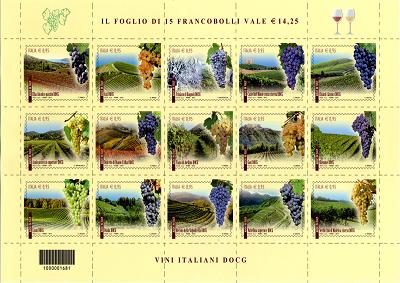 Vino: 15 nuovi francobolli dedicati
