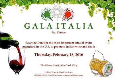 Gala a New York per premiare successo del vino italiano in USA