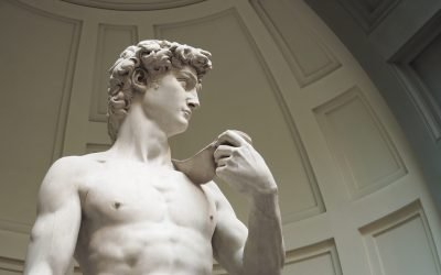 Expo2020 life-size model of Michelangelo's David at Italian pavilion