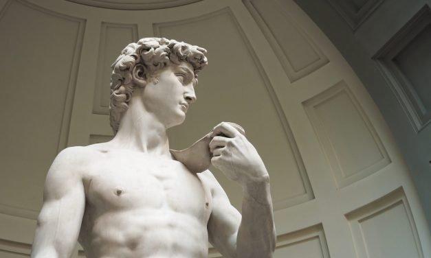Expo2020 life-size model of Michelangelo's David at Italian pavilion