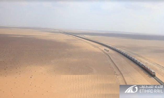 Etihad Rail Chairman inaugurated track laying at Saih Shuaib towards Abu Dhabi and Dubai